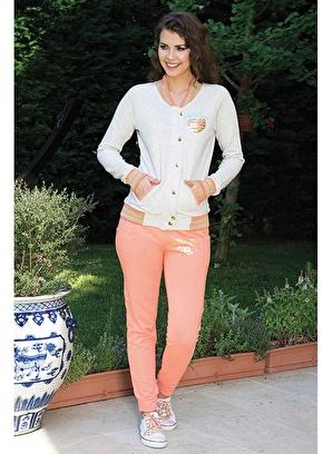 Anıl Kadın Pijama Kışlık Pamuklu Düğme Detaylı Üst Pantolon 2'li Takım
